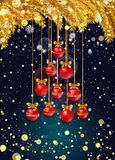 New Year background with fir branches and snowflakes. New Year background with golden fir branches, confetti, snowflakes and red Christmas balls in the shape of Stock Images