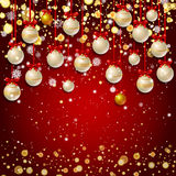 New Year background with fir branches and snowflakes. New Year background with golden confetti and white Christmas balls, snowflakes on red background. Vector Royalty Free Stock Photos
