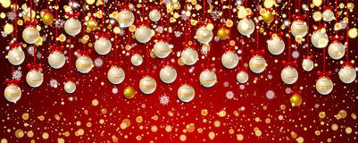 New Year background with fir branches and snowflakes. New Year background with golden confetti and white Christmas balls, snowflakes on red background. Vector Stock Photography