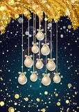 New Year background with fir branches and snowflakes. New Year background with golden fir branches, confetti, snowflakes and white Christmas balls in the shape Stock Images