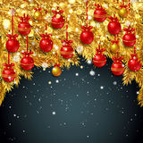 New Year background with fir branches and snowflakes. New Year background with golden fir branches, red Christmas balls and snowflakes on black background Stock Image