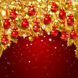 New Year background with fir branches and snowflakes. New Year background with golden fir branches, red Christmas balls and snowflakes on red background. Vector Royalty Free Stock Image