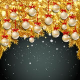New Year background with fir branches and snowflakes. New Year background with golden fir branches, white Christmas balls and snowflakes on black background Royalty Free Stock Images