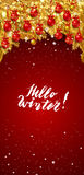 New Year background with fir branches and snowflakes. Hello winter, lettering. New Year background with golden fir branches, red Christmas balls and snowflakes Stock Images
