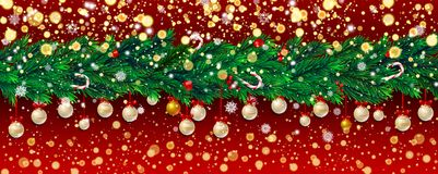 New Year background with fir branches and snowflakes. New Year background with fir branches, golden confetti and Christmas balls, snowflakes on red background Royalty Free Stock Photos