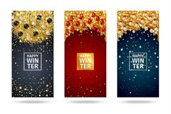 New Year background with fir branches and snowflakes. New Year cards with fir branches, golden confetti, Christmas balls and snowflakes. Vector illustration Stock Image