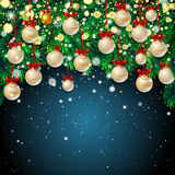 New Year background with fir branches and snowflakes. New Year background with fir branches, white Christmas balls and snowflakes on dark blue background. Vector Stock Photos