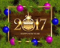 New Year  background. With fir tree branch color bulbs for winter New 2017 Year holidays celebration illustration flyer and postcard design Stock Photos