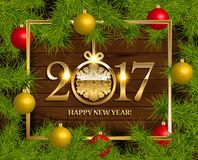 New Year  background. With fir tree branch color bulbs for winter New 2017 Year holidays celebration illustration flyer and postcard design Stock Photography