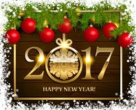 New Year  background. With fir tree branch color bulbs for winter New 2017 Year holidays celebration illustration flyer and postcard design Royalty Free Stock Images