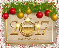 New Year  background. With fir tree branch color bulbs for winter New 2017 Year holidays celebration illustration flyer and postcard design Royalty Free Stock Photo