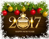 New Year  background. With fir tree branch color bulbs for winter New 2017 Year holidays celebration illustration flyer and postcard design Stock Photo