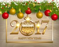 New Year  background. With fir tree branch color bulbs for winter New 2017 Year holidays celebration illustration flyer and postcard design Royalty Free Stock Photography