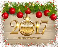 New Year  background. With fir tree branch color bulbs for winter New 2017 Year holidays celebration illustration flyer and postcard design Stock Images