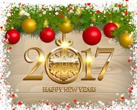 New Year  background. With fir tree branch color bulbs for winter New 2017 Year holidays celebration illustration flyer and postcard design Royalty Free Stock Image