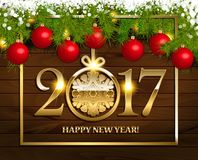 New Year  background. With fir tree branch color bulbs for winter New 2017 Year holidays celebration illustration flyer and postcard design Stock Image