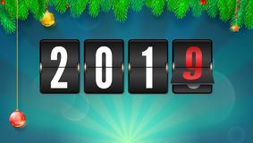 New year background with fir-tree branches and Christmas balls. Flip countdown timer with changing numbers of year. Happy new year. Vector template with royalty free illustration