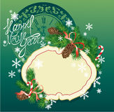 New Year background - fir tree branches and pine c. Ones - frame on dark green background with clock Royalty Free Stock Photography