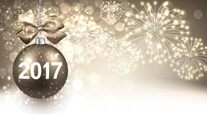 2017 New Year background with fireworks. 2017 New Year background with Christmas ball and fireworks. Vector illustration Royalty Free Stock Images