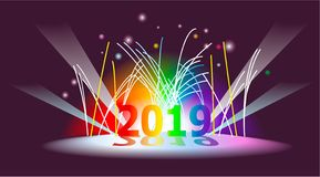 New Year background with fireworks. Holiday New Year background with fireworks royalty free illustration