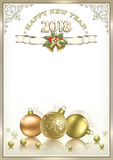 2018  New Year background. New Year background in a frame with an ornament Stock Photos