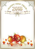 2018 New Year background. New Year background in a frame with an ornament Royalty Free Stock Photo