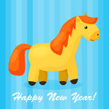 New year background with funny cartoon horse. Happy 2014 Year of the Horse. Bright holiday card in Stock Photography