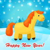 New year background with funny cartoon horse. Happy 2014 Year of the Horse. Bright holiday card in Stock Image
