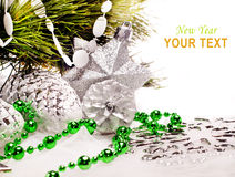 New year background with fur tree decorations. For holiday design Royalty Free Stock Photography