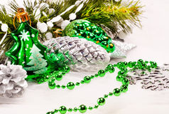 New year background with fur tree decorations Royalty Free Stock Images