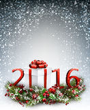 2016 New Year background. With garland and gift Vector illustration Royalty Free Stock Photos