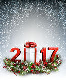 2017 New Year background with garland. 2017 New Year background with garland and gift. Vector illustration Stock Photography