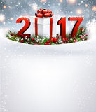 2017 New Year background with garland. 2017 New Year background with snow, garland and gift. Vector illustration Stock Photography