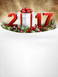 2017 New Year background with garland. 2017 New Year background with snow, garland and gift. Vector illustration Royalty Free Stock Photography