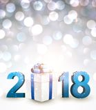 2018 New Year background with gift. Royalty Free Stock Image
