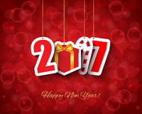 2017 new year background. With gift box and candy cane hanging tags stock illustration