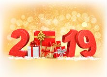 New Year background with a 2019 and gift boxes. Stock Image