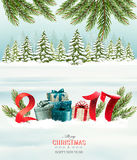 New Year background with a 2017 and gift boxes. Royalty Free Stock Images