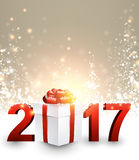 2017 New Year background with gift. 2017 New Year luminous background with gift. Vector illustration Royalty Free Stock Photography