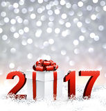 2017 New Year background with gift. 2017 New Year shining background with gift. Vector illustration Stock Image