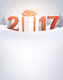 2017 New Year background with gift. 2017 New Year background with gift and snow. Vector illustration Royalty Free Stock Images