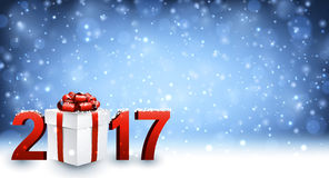 2017 New Year background with gift. 2017 New Year background with gift and snow. Vector illustration Stock Photo