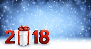 2018 New Year background with gift. 2018 New Year background with gift and snow. Vector illustration Royalty Free Stock Photo