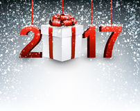 2017 New Year background with gift. Stock Image