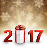 2017 New Year background with gift. Royalty Free Stock Photos