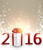 2016 New Year background. With gift. Vector paper illustration Royalty Free Stock Images