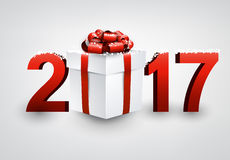 2017 New Year background with gift. Stock Photos