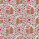 New year background with gingerbread house and hearts. Sweets cookie seamless pattern Stock Image