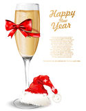 New Year Background with Glass of Champagne Royalty Free Stock Photos