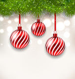 New Year background with glass hanging balls and fir twigs Stock Photography
